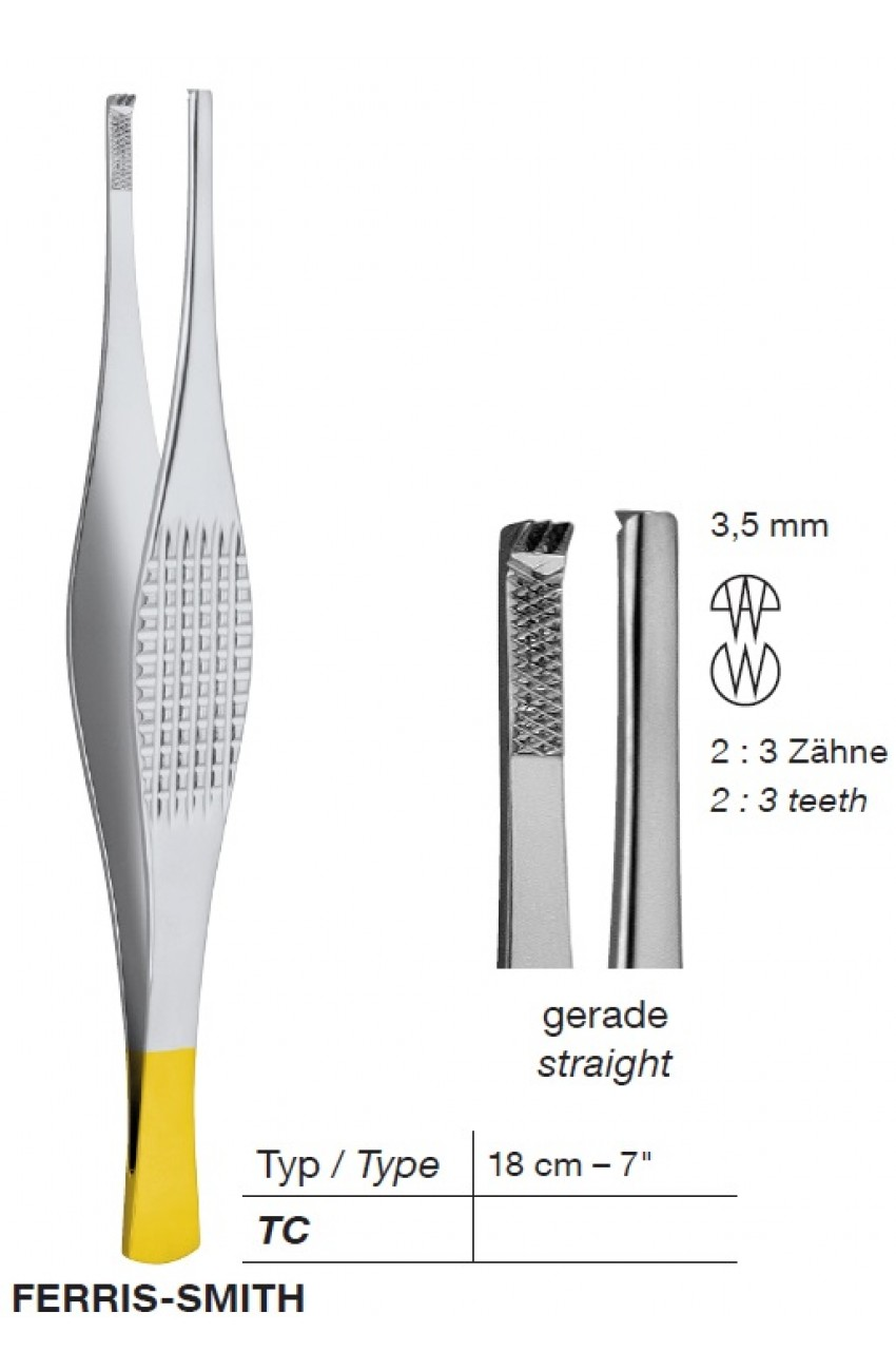 T/C FERRIS-SMITH, Tissue Forceps,3.5 mm,2X3 Teeth,18 cmTungsten Carbide Forceps